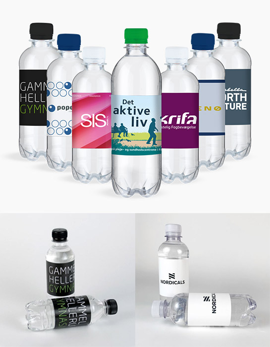 Eksempler på logovand fra Langhoff Promotion