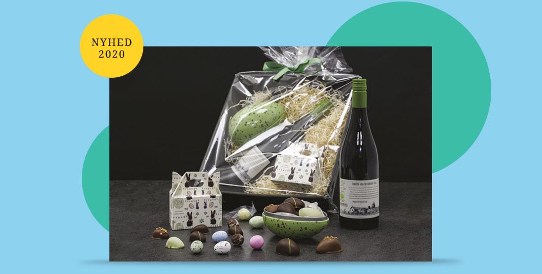Nyhed 2020 - påskepakke med øko vin og chokolade